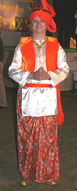 Paul Merton wearing a traditional Bhangra outfit