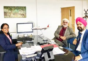 UK MP Tanmanjit Singh Dhesi meeting with Ms Tara Naidu, Air India head of Europe operations, in London