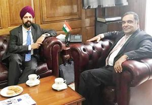 UK MP Tanmanjit Singh Dhesi meeting with meeting with Indian High Commissioner in London Y.K Sinha in London